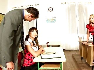 Stunning Honey Kathia Nobili And Her Decadent School Gf Are Fucked By Horny Lecturer