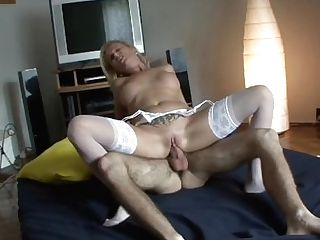 Mummy In Milky Undergarments Gets Fucked In The Butt