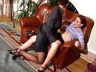 Lesbo Domination Strap On Pantyhose 1