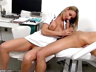 Hot Nurse Is Wearing Sexy Uniform While Playing With Her Patients Rock Hard Meat Stick