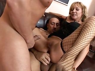 Matures Fair Haired Mega-bitch In Fishnets Got Pounded By Two Tipsy Machos Hard