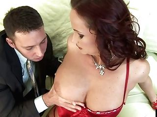 Rapacious Crimson-haired Cougar Tit Fucks Thrilled Dick
