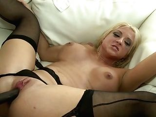 Light Haired Bitch In Stockings Gets Drilled Hard And Fellates The Dick