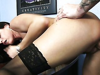 Brown-haired Bombshell In Stockings India Summer Gets Her Cunny Romped By Richie Black